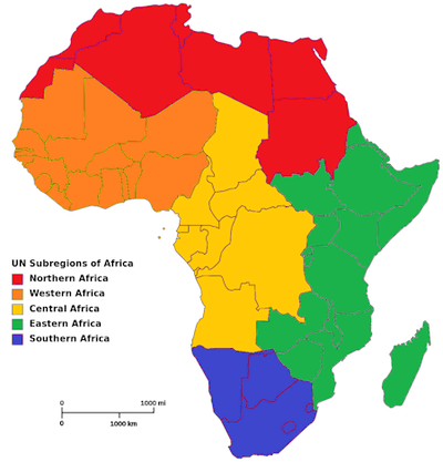 Map of Africa showing subregions in shaded colors.