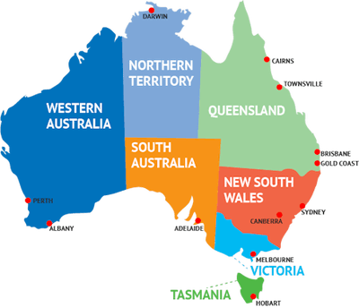 Map of Australia showing each of the states in different shaded colors.