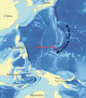 The Mariana Trench in the Pacific Ocean is the deepest known spot on Earth at approximately 11,000 Meters (35,853 ft) deep, 2,550 km (1,580 miles) long and 69 km (43 miles) wide.
