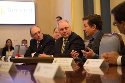 Michael J. Fox (second from the right) meets with bipartisan members of the House of Representatives on Capitol Hill in Washington, D.C., Tuesday, February 28, 2017. Photo Credit: The Michael J. Fox Foundation - Joe Shymanski