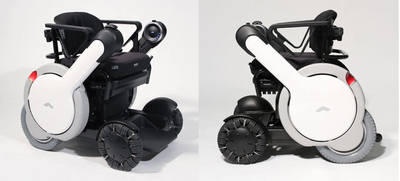 Left and right side views of the WHILL Model M technologically advanced wheelchair