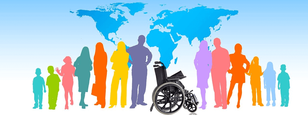 Clipart image of an empty wheelchair in the foreground with colored silhouettes of people to the left and right of the wheelchair. A world map is featured in the background.