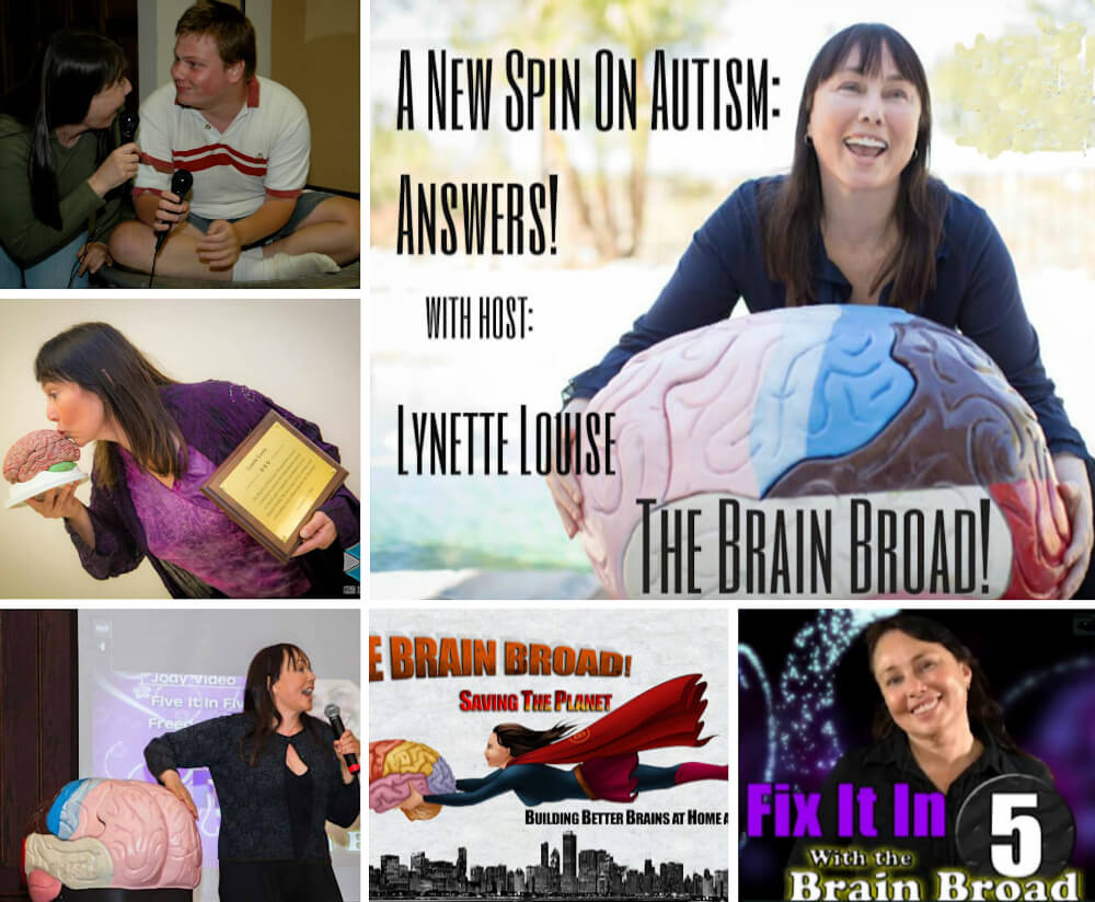 Collage of images depicting Dr. Lynette Louise during various aspects of her work.