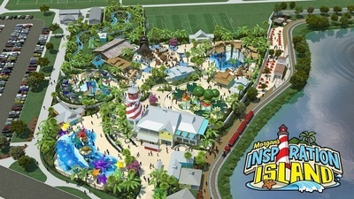 Artist impression of aerial view of Morgans Inspiration Island