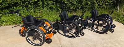 Mountain Trike current all terrain wheelchair range. Each product is available in a wide range of trendy colors.