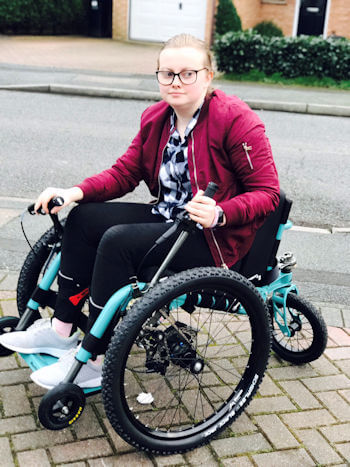 Lucy Keyworth with her new Mountain Trike, ahead of her school trip, purchased via the new finance scheme. Photo credit: Lucy Keyworth