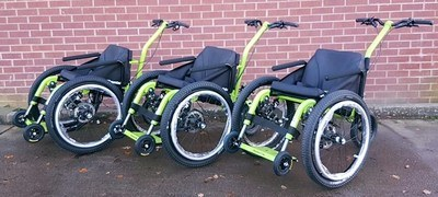 Fleet of three MT Push all terrain wheelchairs available at Kington Lacy, Dorset. Photo Credit: Marie Morgan, Mountain Trike