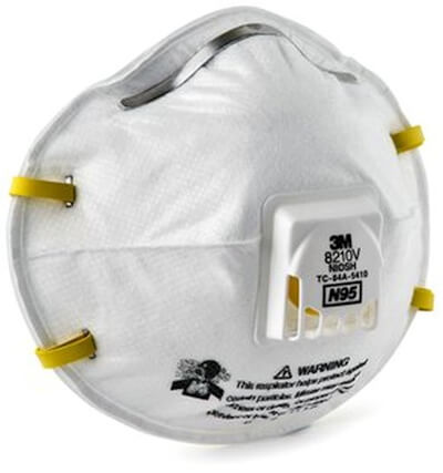 The 8210V Disposable Respirator from 3M is rated N95 and blocks 95% of all non-oil particle matter down to .03 microns from getting into the lungs.