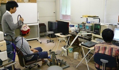 A volunteer performs the repetitive movement task of pointing his foot up and down while nerve activity is monitored in Professor Kozo Funase's laboratory- Photo Credit: Kozo Funase, Hiroshima University