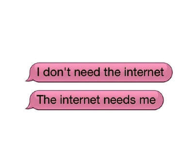 Two pink chat balloons withe the words - I don't need the Internet - The Internet needs me.