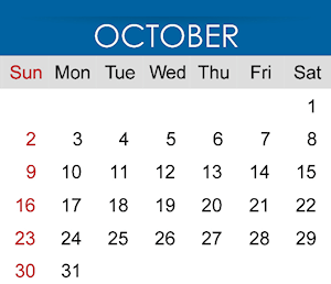 Calendar showing month of October.
