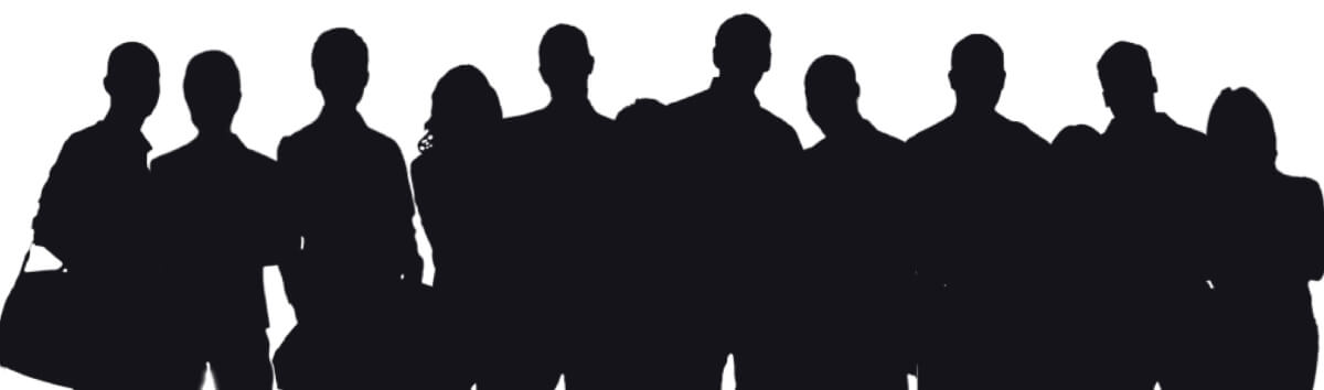 Black and white people silhouette illustration.