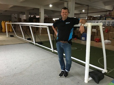Packaworld CEO Peter Roberts with the new portable goalball Packagoal.
