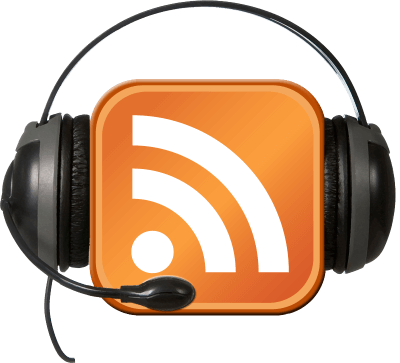 Podcast headset with microphone. Headset is mounted on an orange square RSS symbol with white broadcast bars.