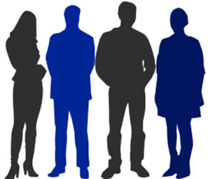 Silhouettes of 4 people, 2 are colored black - the other 2 are blue.