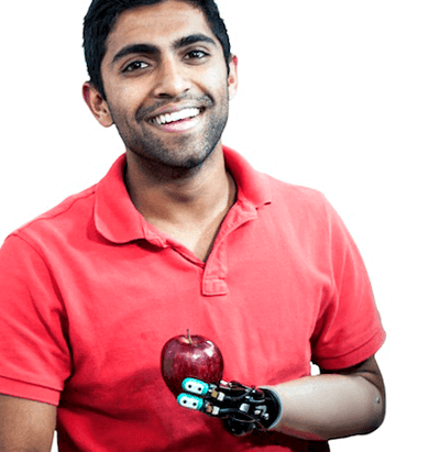 Image of a person using BioTac technology in a prosthetic