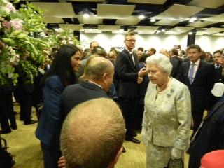 Mr. Hassan Ali Bin Ali greets Her Majesty Queen Elizabeth II.