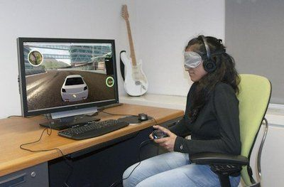 Parita Pooj, a blindfolded study participant, tests the RAD, a racing auditory display that enables visually impaired gamers play the same types of racing games that sighted players play with the same speed, control, and excitement as sighted players - Photo Credit: Brian A. Smith/Columbia Engineering.