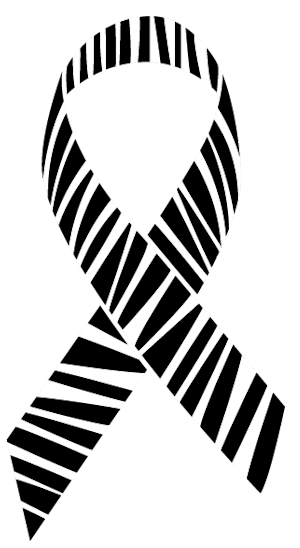 The symbol for rare disease awareness is a zebra-striped ribbon.