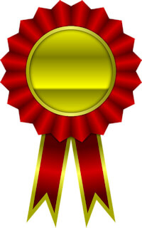 Red and gold colored generic ribbon award