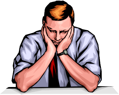 Illustration of a sad man holding his head in his hands.