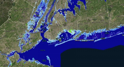 Parts of New Jersey and New York with 8 feet of sea-level rise. An almost 8-foot rise is possible by 2100 under a worst-case scenario, according to projections. The light-blue areas show the extent of permanent flooding. The bright green areas are low-lying - Image Credit: NOAA Sea Level Rise Viewer.
