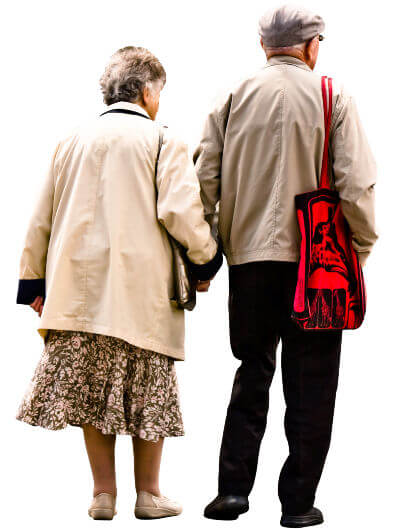 Image depicts an older couple standing with their backs to the camera.