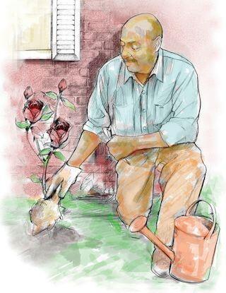 Senior male doing gardening