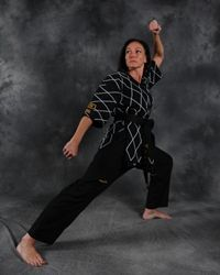 Sherry Kay Cataldo - Demonstrating the Mountain Stance in Hapkido (Photo Courtesy: Stace Sanchez of Kickpics)