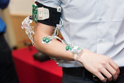 A prototype of Jafari's sign language recognition technology that he aims to scale down to the size of a watch.