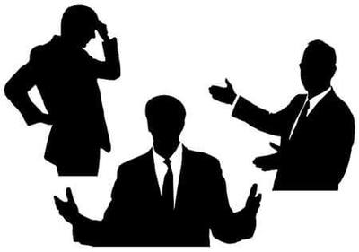 Silhouette of 3 business men gesturing