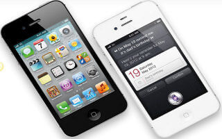 iPhone 4S with Siri running on the right
