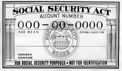 United States Department of Social Security sample card.