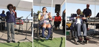 Three photos of The Youth Day Disability Awareness Event that was held at Soshanguve Crossing Mall Saturday, 16 June 2018. From left to right: 1 - Teen male talking/singing into a microphone; 2 - Teen girl in wheelchair talks into a microphone; 3 - Man in wheelchair on the stage area.
