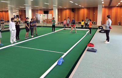 Special Olympics athletes try out the new courts at the Yuen Chau Kok Sports Centre in Hong Kong