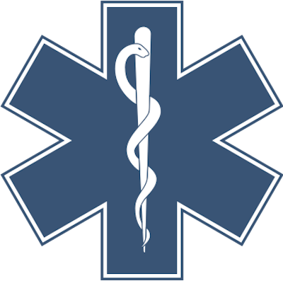 The Star of Life - A blue, six-pointed star, outlined with a white border features the Rod of Asclepius in the middle. For EMS, the 6 points (bars) represent the 6 system functions: Detection, Reporting, Response, On-Scene Care, Care in Transit, Transfer to Definitive Care. The Star of Life symbol was designed/created by a National Highway Traffic Safety Administration (US Gov) employee - Image Credit: Wikipedia (public domain).