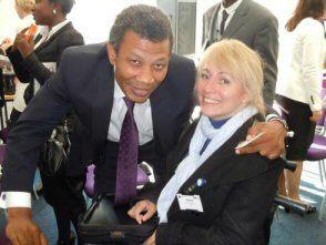 Clare Edwards Trabasack Laptray Bag Entrepreneur and Wilfred Emmanuel-Jones
