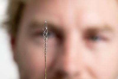 This tiny device, the size of a small paperclip, is implanted in to a blood vessel next to the brain and can read electrical signals from the motor cortex, the brain's control centre. These signals can then be transmitted to an exoskeleton or wheelchair to give paraplegic patients greater mobility. Users will need to learn how to communicate with their machinery, but over time, it is thought it will become second nature, like driving or playing the piano. The first human trials are slated for 2017 in Melbourne, Australia - Picture Credit: The University of Melbourne
