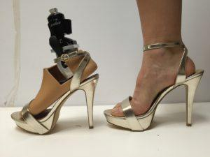 With an adjustable ankle, the Prominence prosthetic foot accommodates even this heel, more than four inches high - Photo courtesy of Johns Hopkins University Senior Design Team