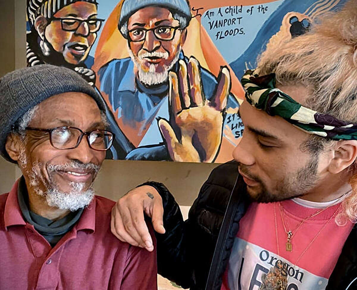 OB Hill and Swiggle Mandela talk during a 2020 Vanport Mosaic Constructing Civic Dialogue workshop - Stories in Movement. Image Credit: City of Portland, Oregon.