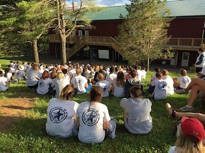 Counselors at participating camps learn about tick bite prevention.
