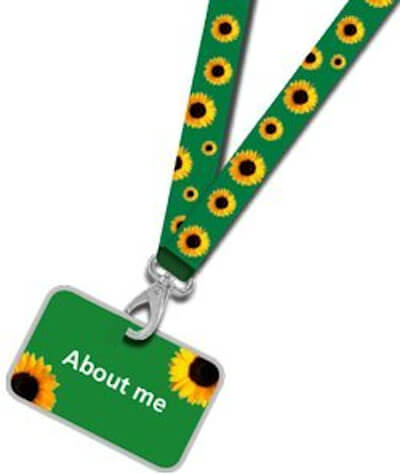 The sunflower lanyard for hidden disabilities awareness (Optional about me card attached).