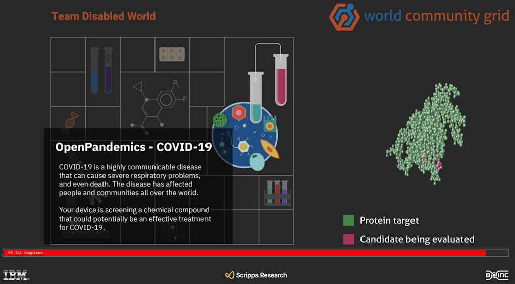 Screenshot of the computer screen saver of Team Disabled World running the OpenPandemics COVID-19 Project.