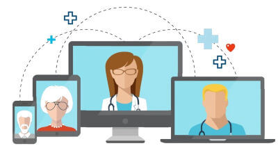 Illustration of telehealth doctor to patient communication on various device screens.