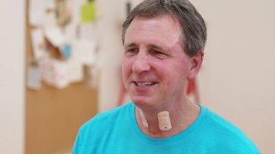 New wearable designed to be worn on the throat could be a game-changer in the field of stroke rehabilitation - Photo Credit: Elliott Abel/Shirley Ryan/AbilityLab.