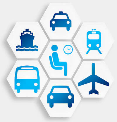 Seven transport icons arranged in a hexagon pattern.