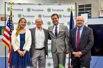 Pictured (L-R) Katie Baker, Associate Director, Paralympic Sport Performance, United States Olympic Committee; Mark Lucas Executive Director, United States Association of Blind Athletes; Tom Trent, Board Chair, Turnstone and Attorney, Rothberg, Logan and Warsco; Mike Mushett, CEO, Turnstone.