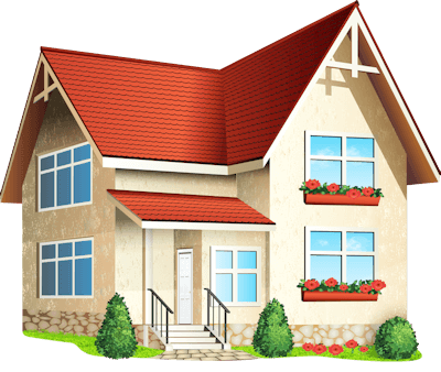 Illustration of a two story beige home with a red roof.