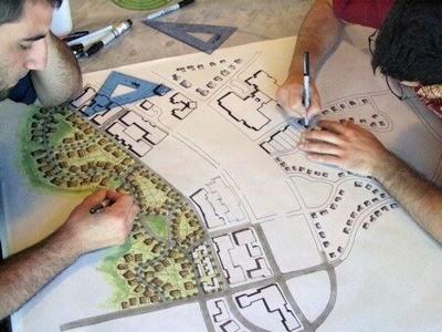 UGA students work on the camp landscape design.