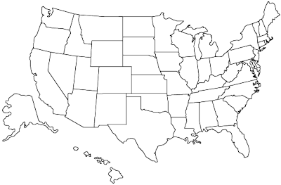 Outline map showing U.S. states